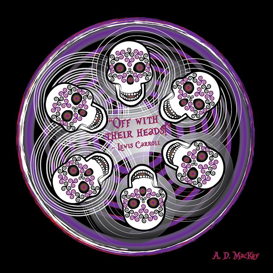 Fairy Tale Digital Art - Spinning Celtic Skulls in Purple by Celtic Artist Angela Dawn MacKay