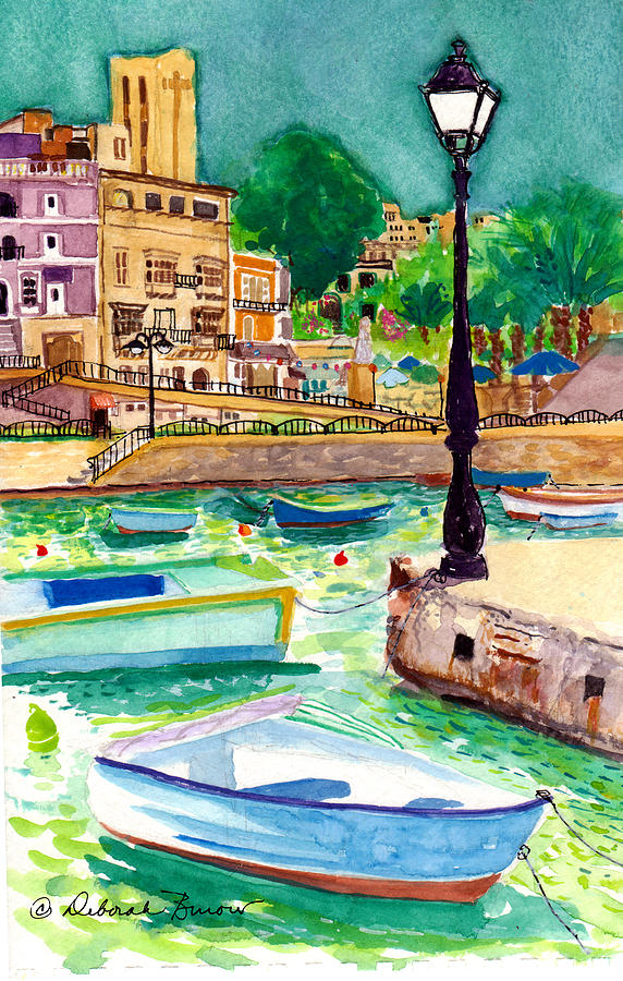 Boats Painting - Spinola Bay Plein Air by Deborah Burow
