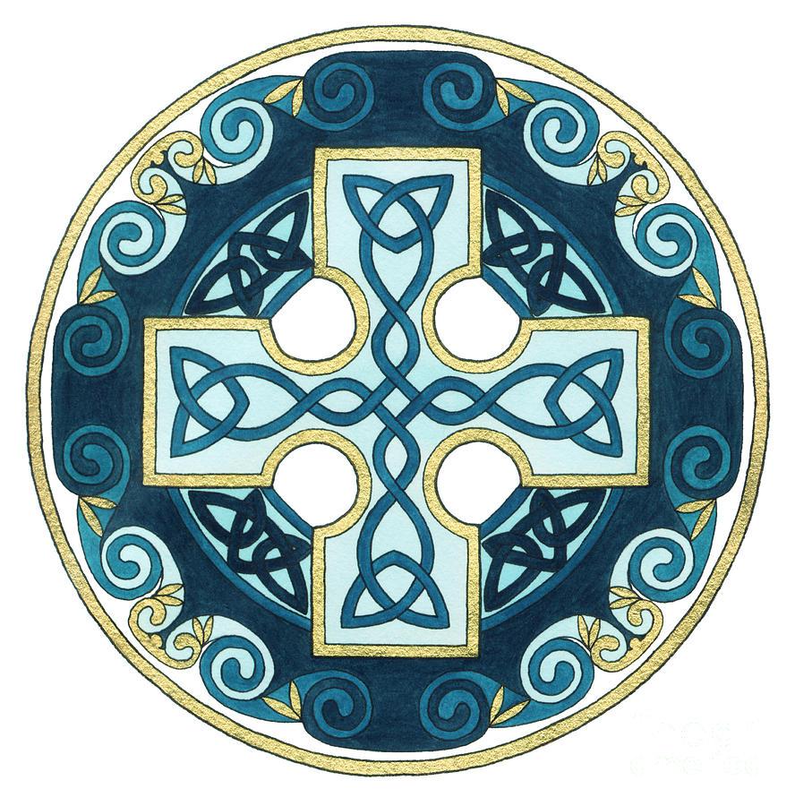 Celtic Painting - Spiral Cross by Cari Buziak