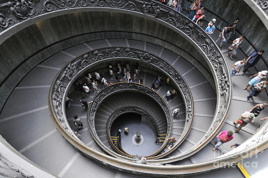 Museum Photograph - Spiral Staircase By Giuseppe Momo At The Vatican Museum. Rome. Italy by Bernard Jaubert