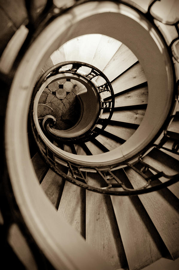 B&w Photograph - Spiral Staircase by Sebastian Musial