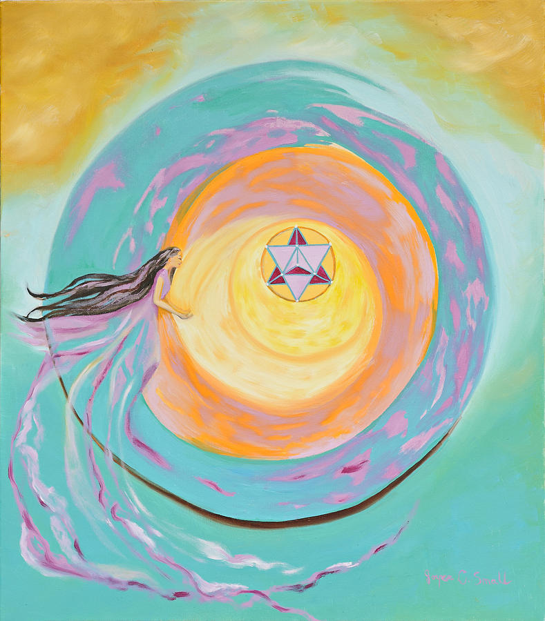 Sacred Geometry Painting - Spiral Toward The Light by Joyce Small