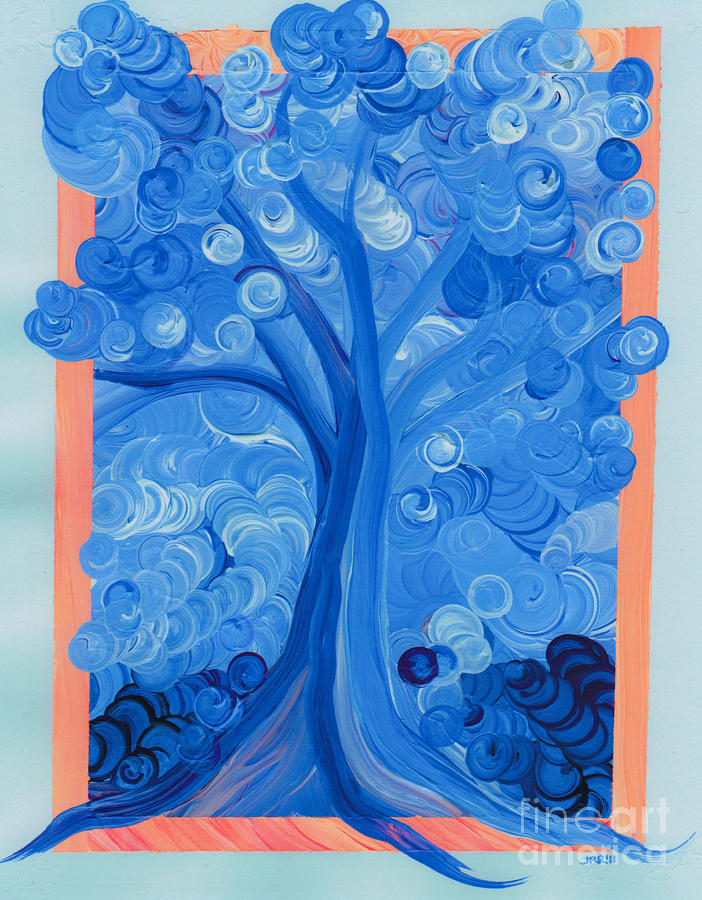 First Star Painting - Spiral Tree Winter Blue by First Star Art