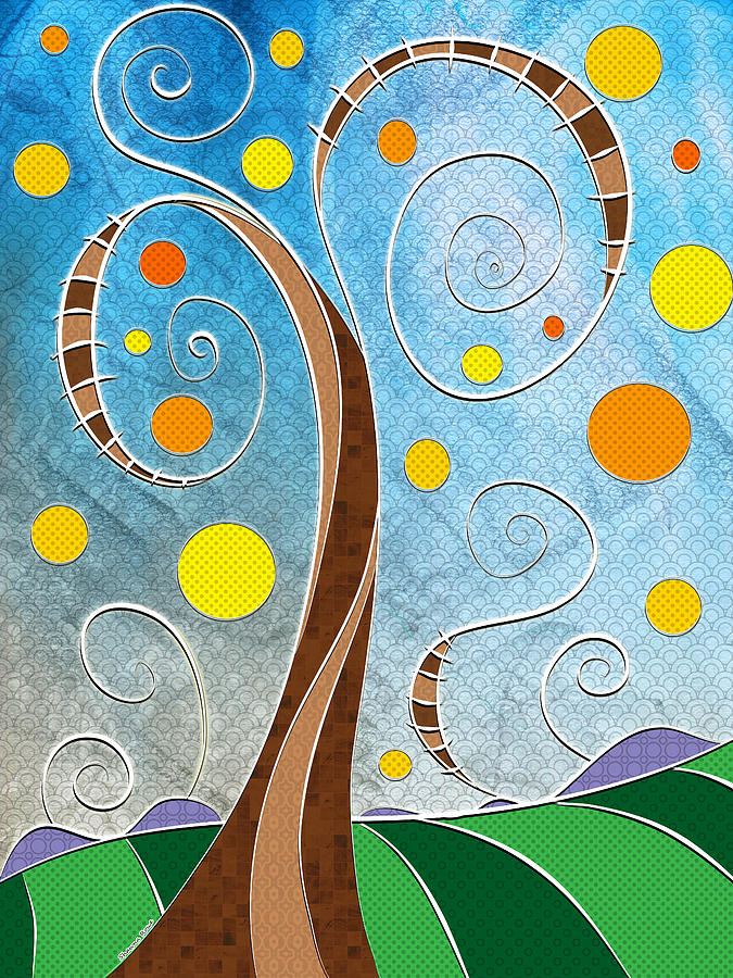 Whimsical Landscape Digital Art - Spiralscape by Shawna Rowe