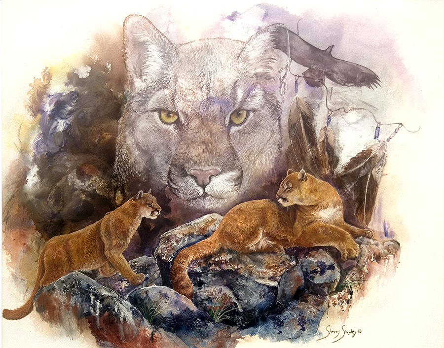 Cougar Painting - Spirit Cat by Sherry Shipley