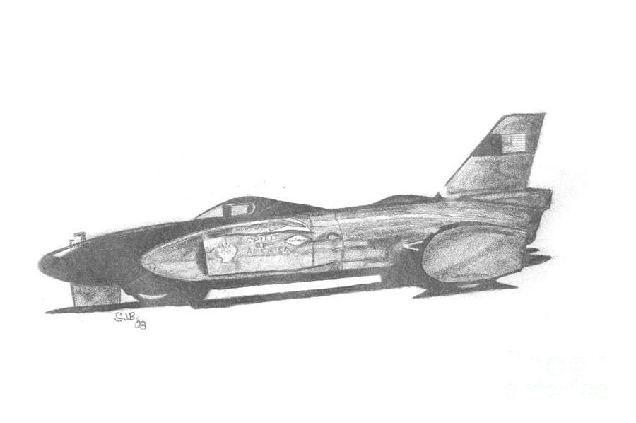 Bonneville Drawing - Spirit Of America by Stacey Becker
