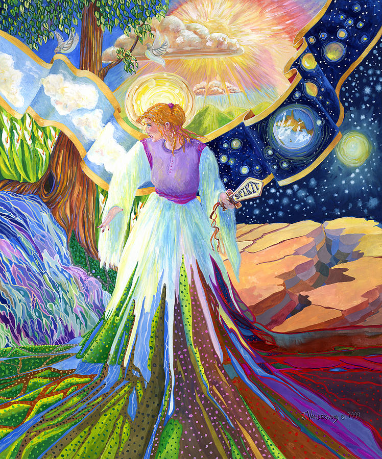 Spirit Of God Angel Between Good And Evil Painting By