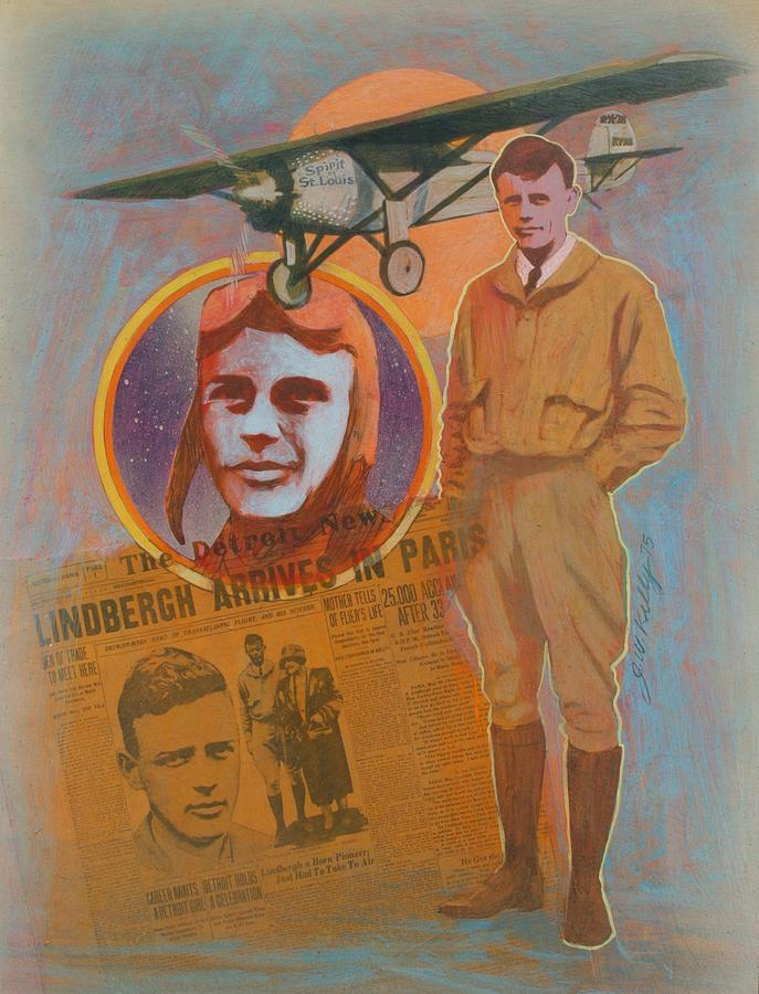 Lindbergh, Spirit of St. Louis Painting by J W Kelly