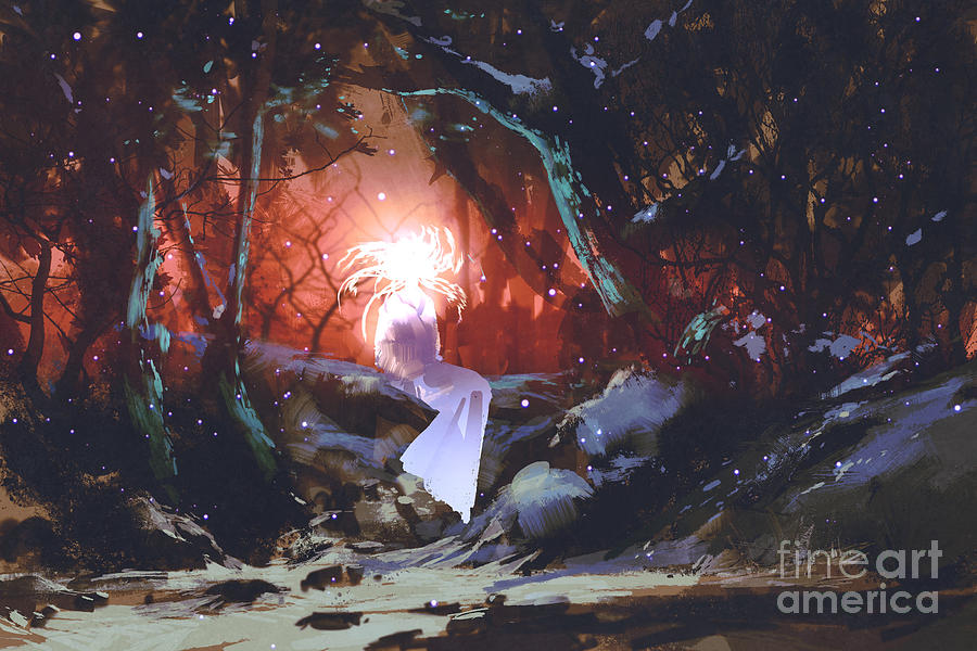 Magic Digital Art - Spirit Of The Enchanted Forest,woman In by Tithi Luadthong