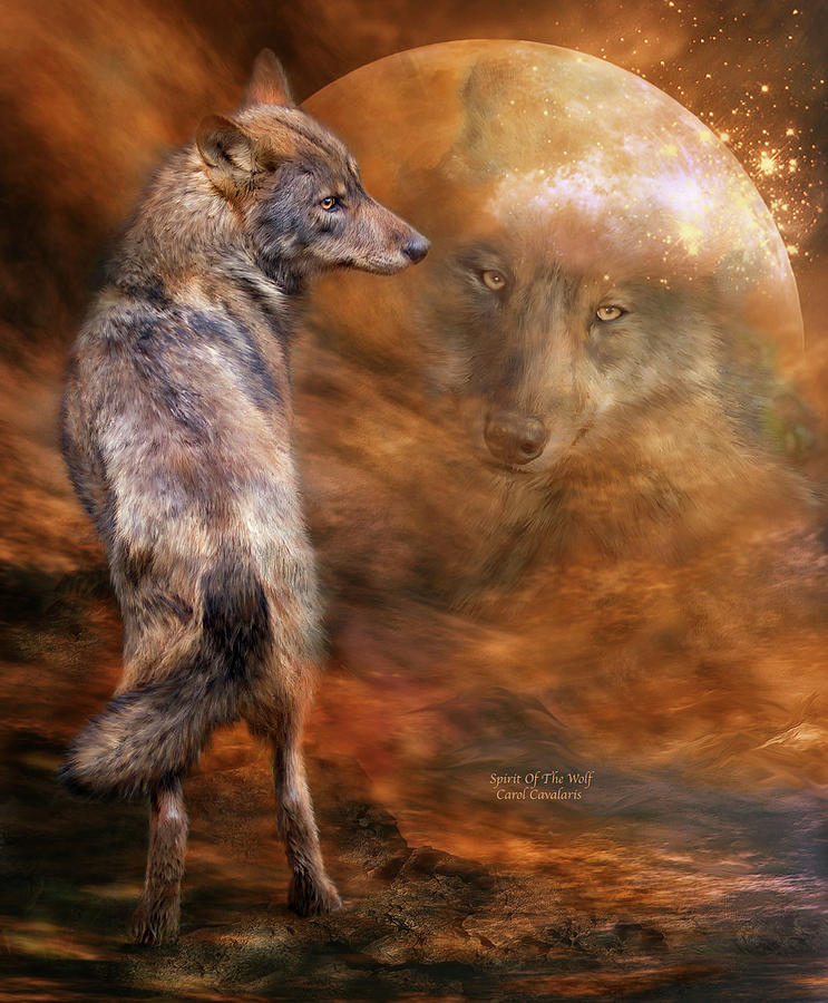 Wolf In Moon Painting Mixed Media - Spirit Of The Wolf by Carol Cavalaris