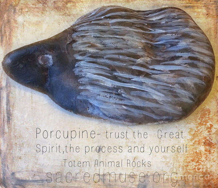 Totem Animal Ceramic Art - Spirit Rock Totem Animal Porcupine by Sacred  Muse