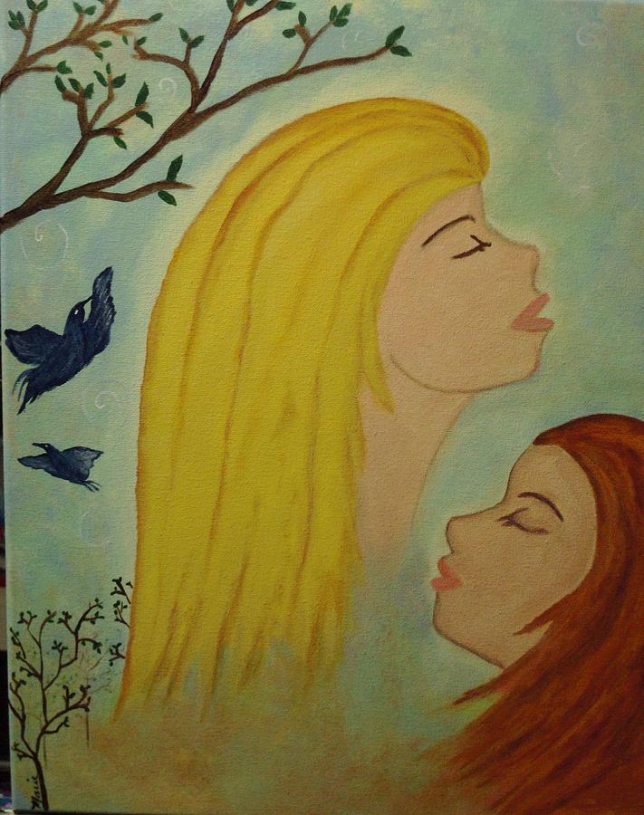 Spirit Painting - Spiritual Embrace by Marie Tucker
