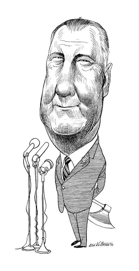 1970 Drawing - Spiro Agnew Caricature by Edmund Valtman