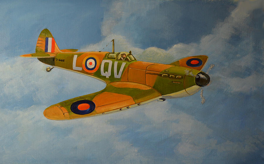 Famous Fighters Painting - Spitfire Mk1a by Murray McLeod
