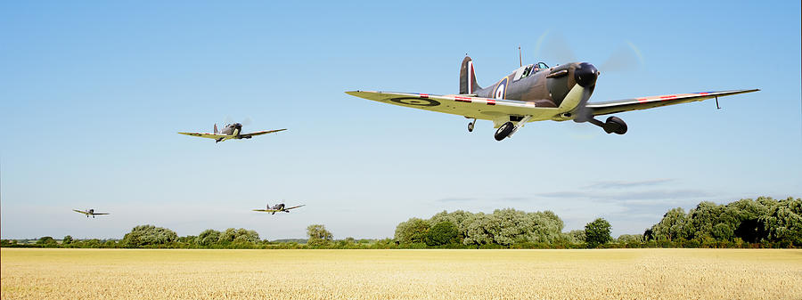 Aircraft Photograph - Spitfire - Red Section Airborne by Pat Speirs