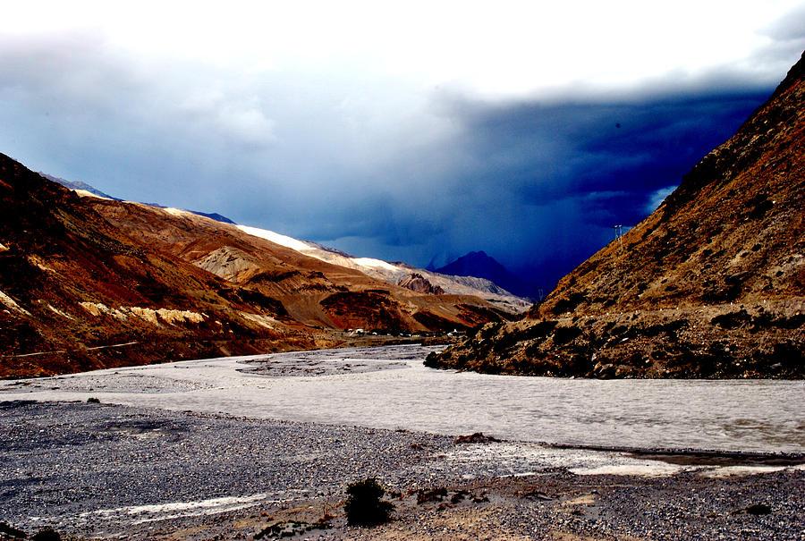 Landscape Photograph - Spiti River- Kaza Ladkah- India- Viators Agonism by Vijinder Singh