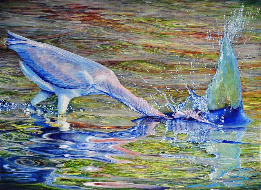 Florida Painting - Splash Fishing by AnnaJo Vahle