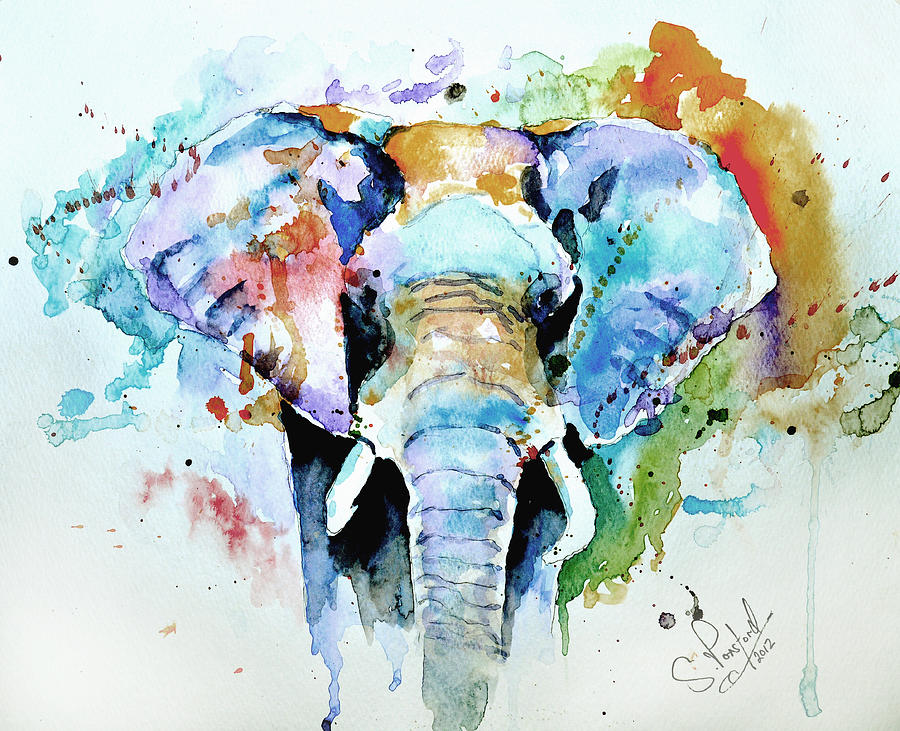 Elephant Painting - Splash Of Colour by Steven Ponsford
