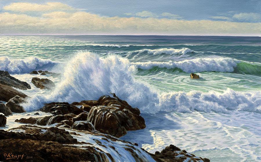 Ocean Painting - Splash Seascape by Paul Krapf