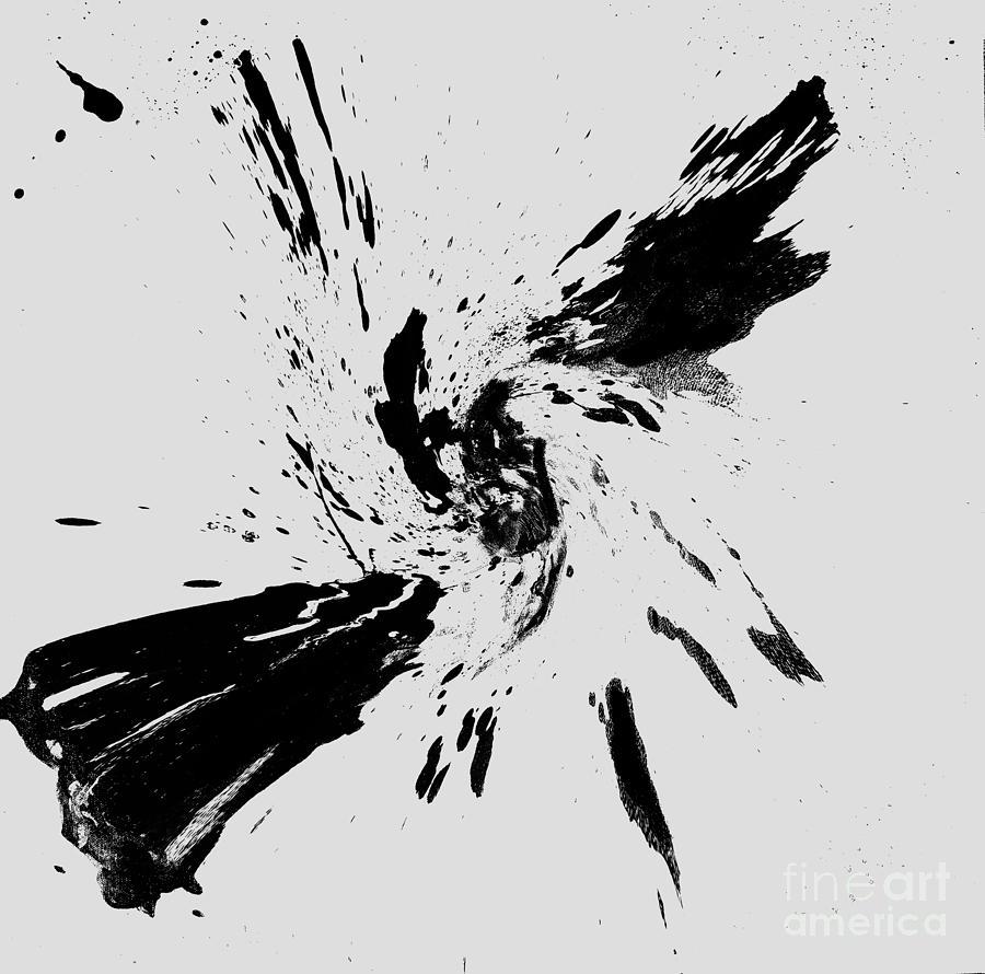 Black and white drawing digital art splashed swirl by mk square studio