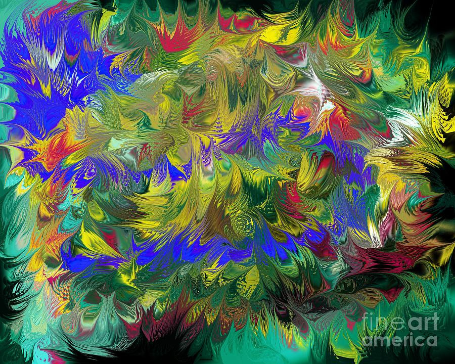 Abstract Digital Art - Splashing Through The Puddles Of My Mind by Naomi Richmond