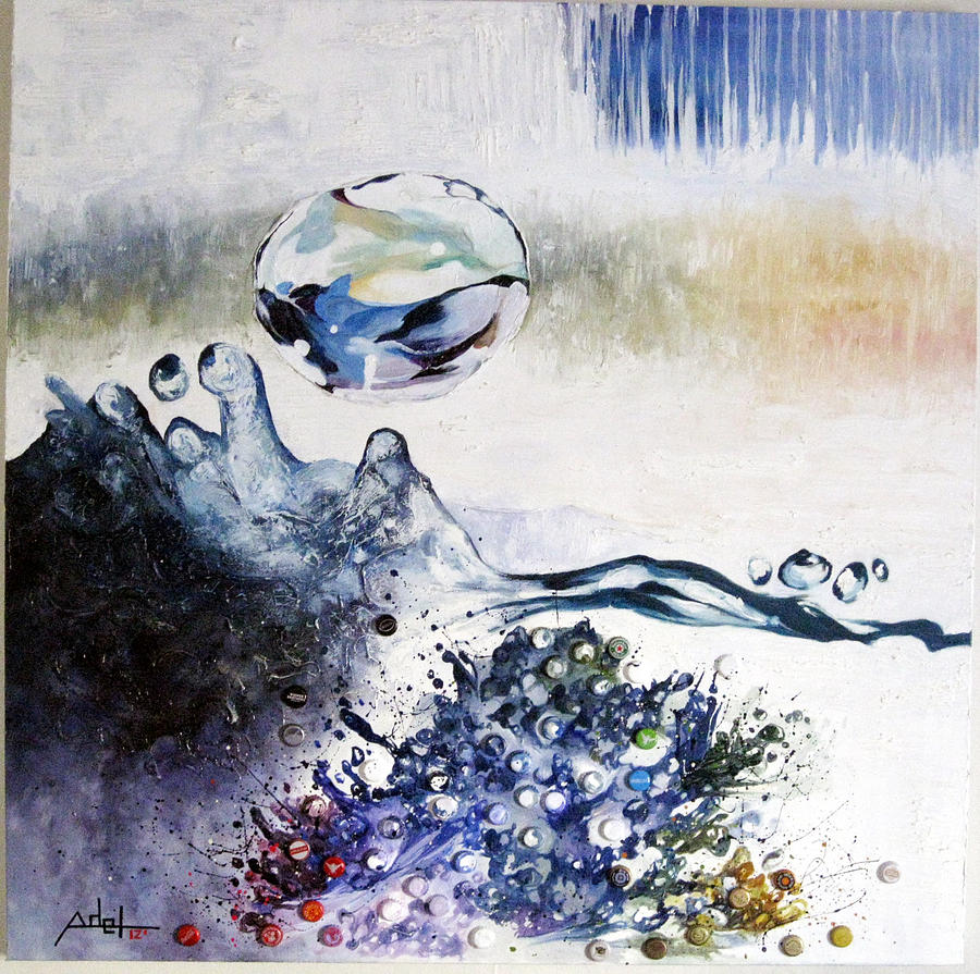 Mixed Media Painting - Splashing Through Waves by Adel Ahn