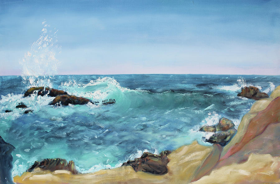 Impressionist Painting - Splashing Wave  Gerstle Cove Park by Asha Carolyn Young