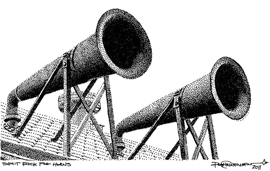 Lake Superior Drawing - Split Rock Fog Horns by Rob Christensen