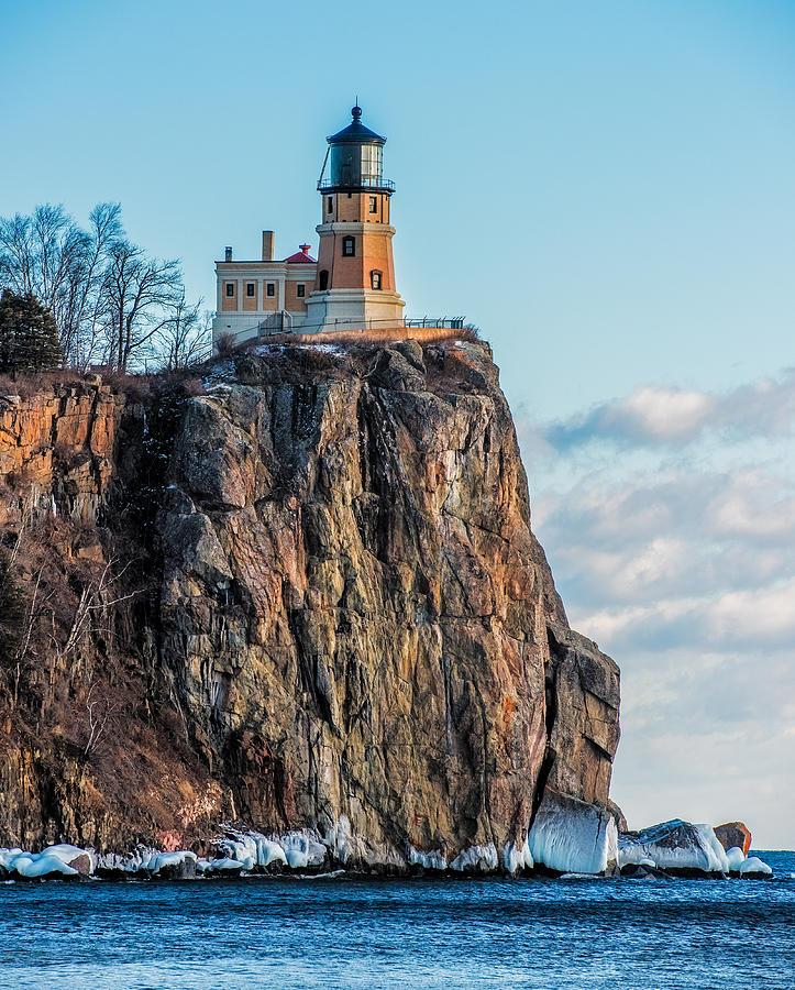 Split Rock Lighthouse Photograph - Split Rock Lighthouse In Winter by Paul Freidlund