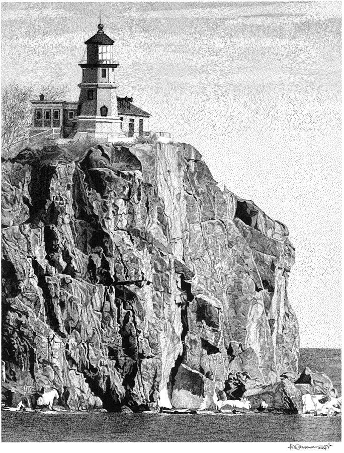 Landscapes Drawing - Split Rock Lighthouse by Rob Christensen