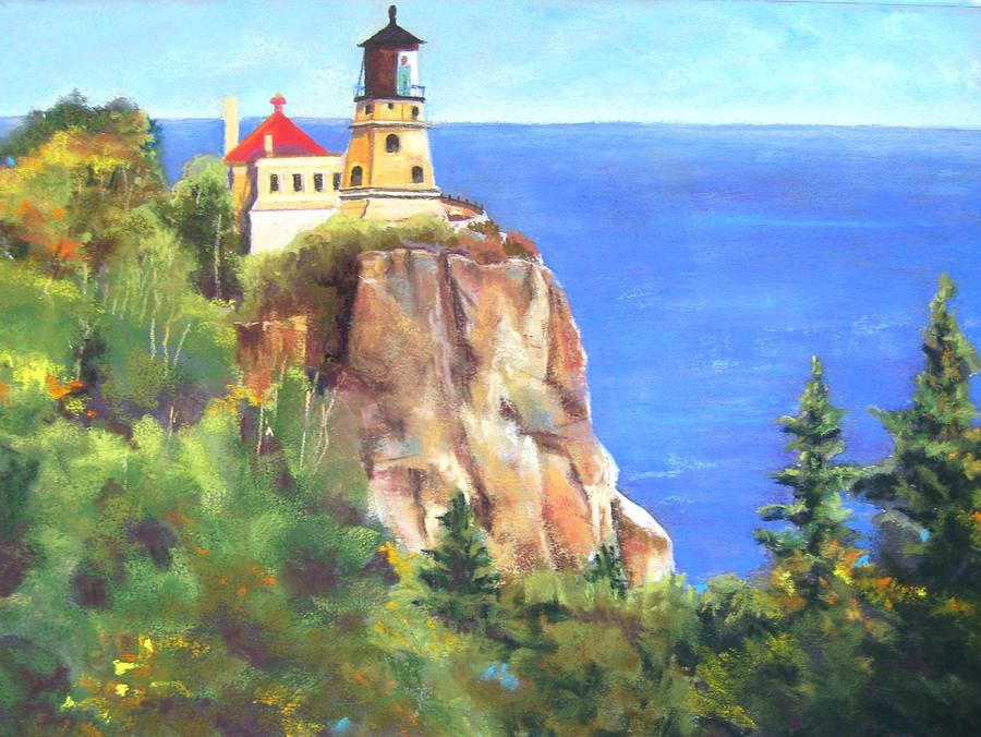 Landscape Painting - Split Rock Lighthouse by Vicki Brevell