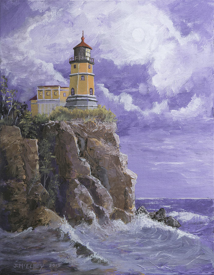 Lighthouse Painting - Split Rock Magic by Jerry McElroy