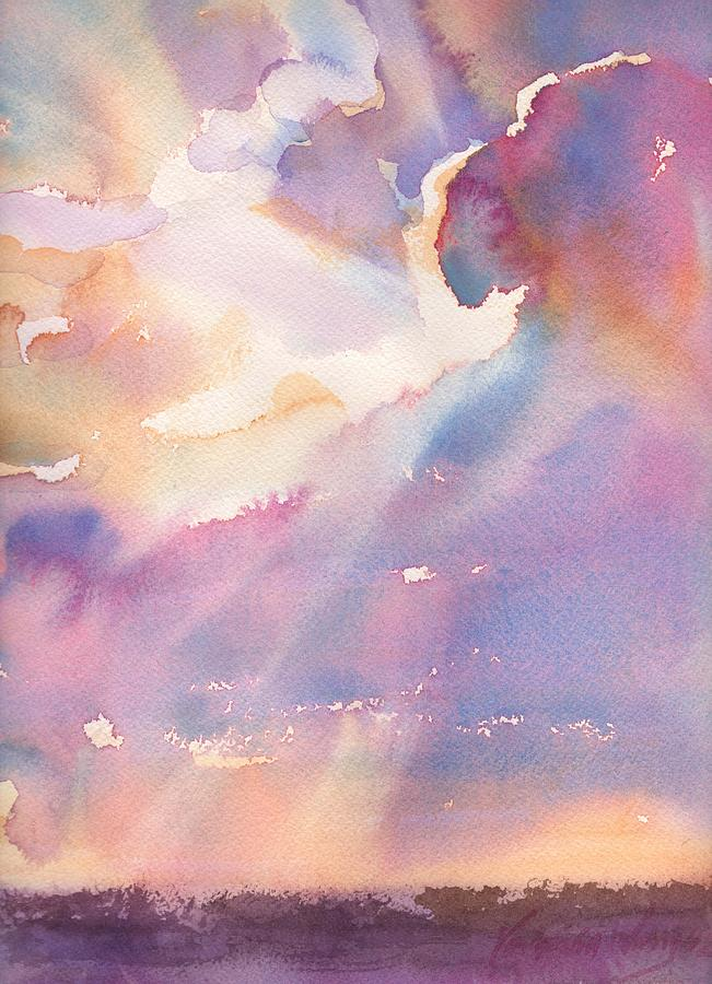Sunset Painting - Splits The Silver Lining by Yevgenia Watts