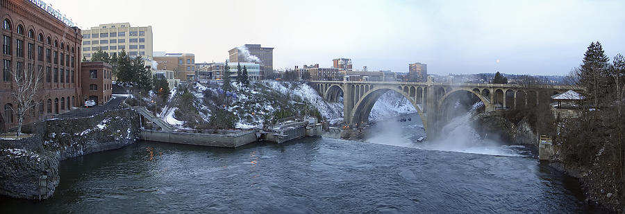 Spokane Photograph - Spokane City Skyline On A Frigid Morning by Daniel Hagerman