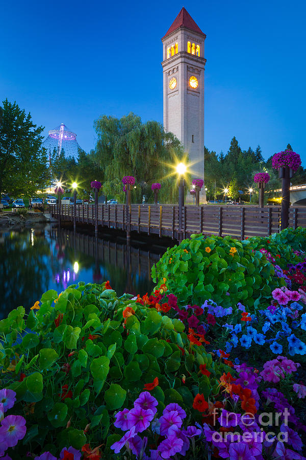 America Photograph - Spokane Clocktower By Night by Inge Johnsson