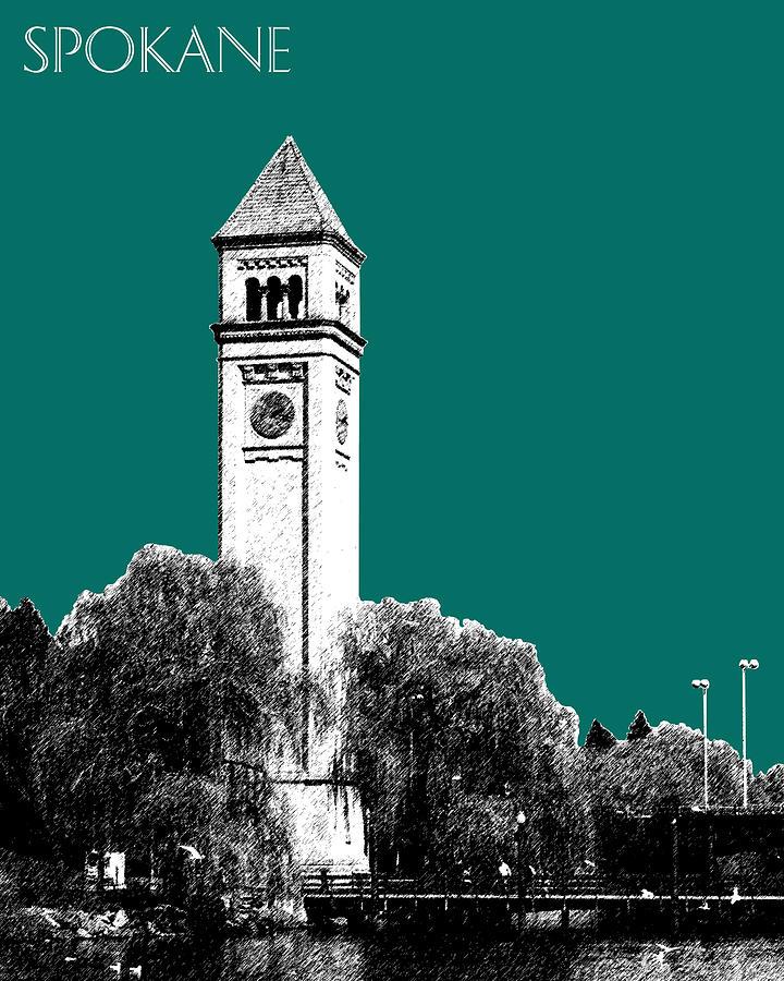 Architecture Digital Art - Spokane Skyline Clock Tower - Sea Green by DB Artist
