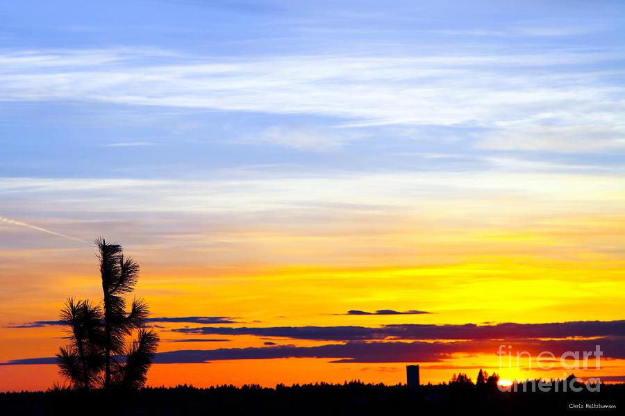 Sunset Photograph - Spokane Wa Sunset by Chris Heitstuman