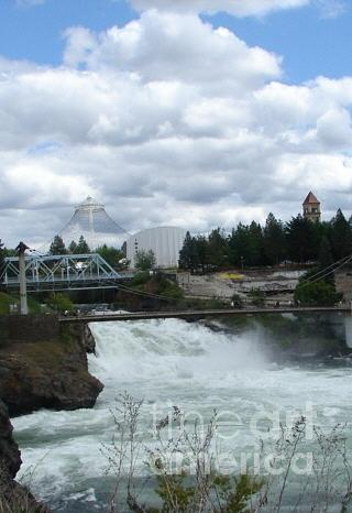 River Painting - Spokane Washington Riverfront Park Spokane Falls by Windy Mountain