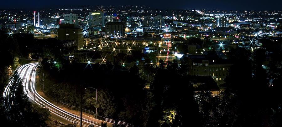 Spokane Photograph - Spokane Washington Skyline At Night by Daniel Hagerman