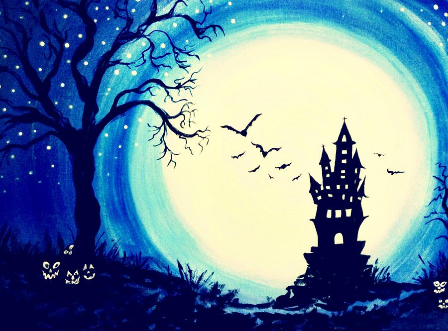 Halloween Painting - Spook House by Nickie Bradley