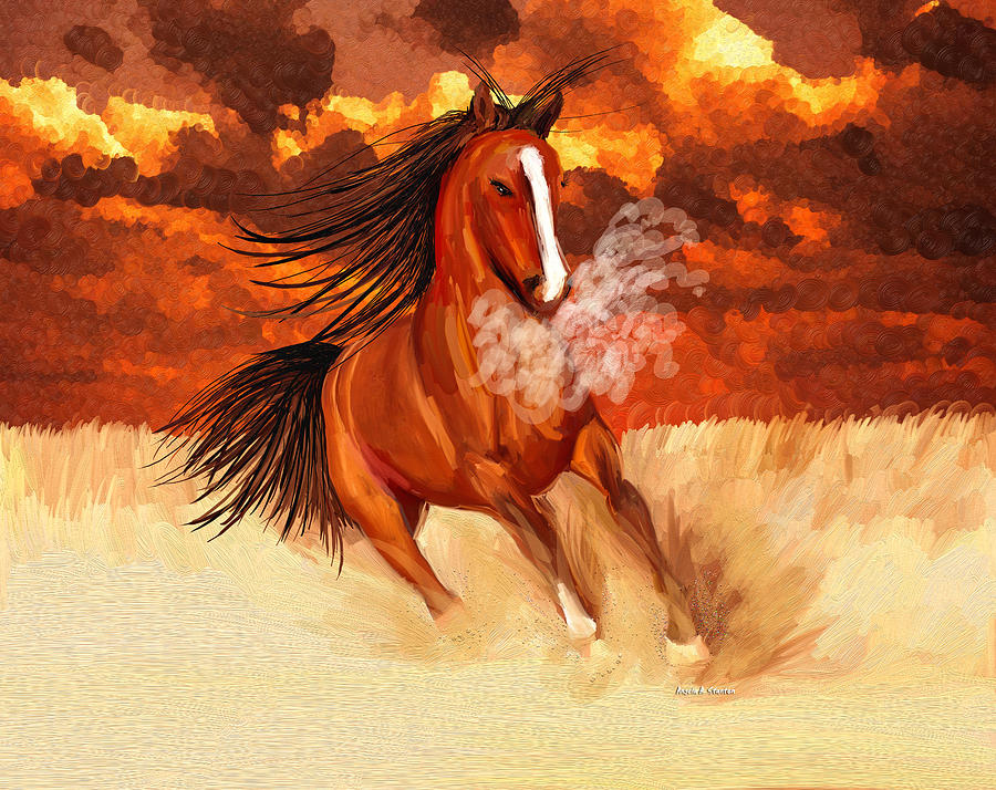 Horse Painting - Spooked By The Storm by Angela A Stanton