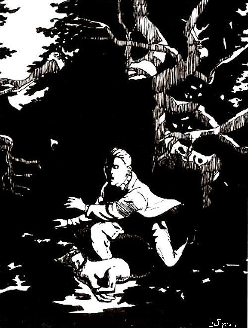 Black And White Drawing - Spooks In The Woods by Brad Simpson