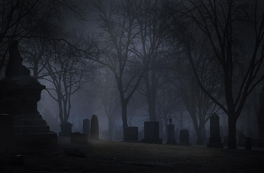 Spooky Cemetery at night with fog Photograph by GeorgePeters