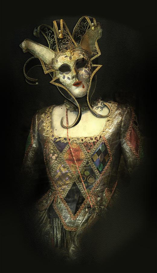 Mask Photograph - Spooky Venetian Mask With Red Lips Blood Drop And Scorpion Tattoo by Luisa Vallon Fumi