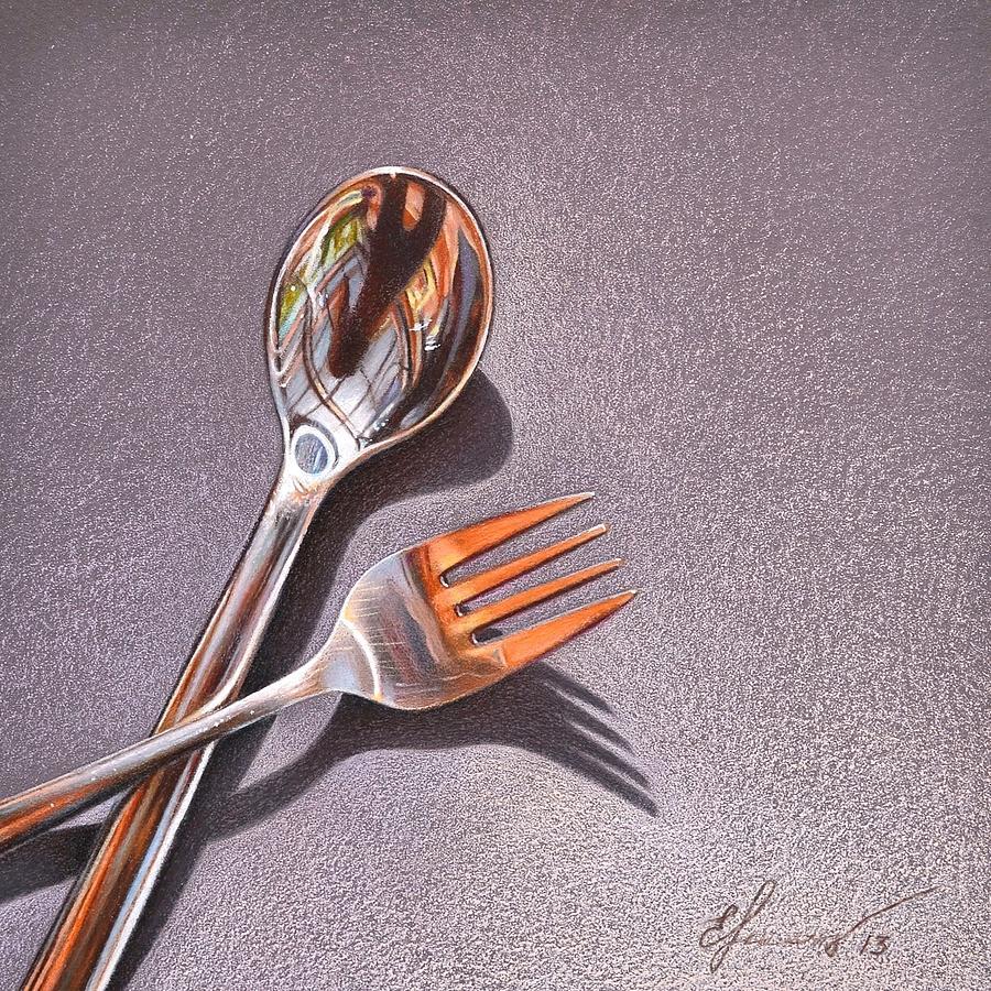 Still Life Drawing - Spoon And Fork 1 by Elena Kolotusha