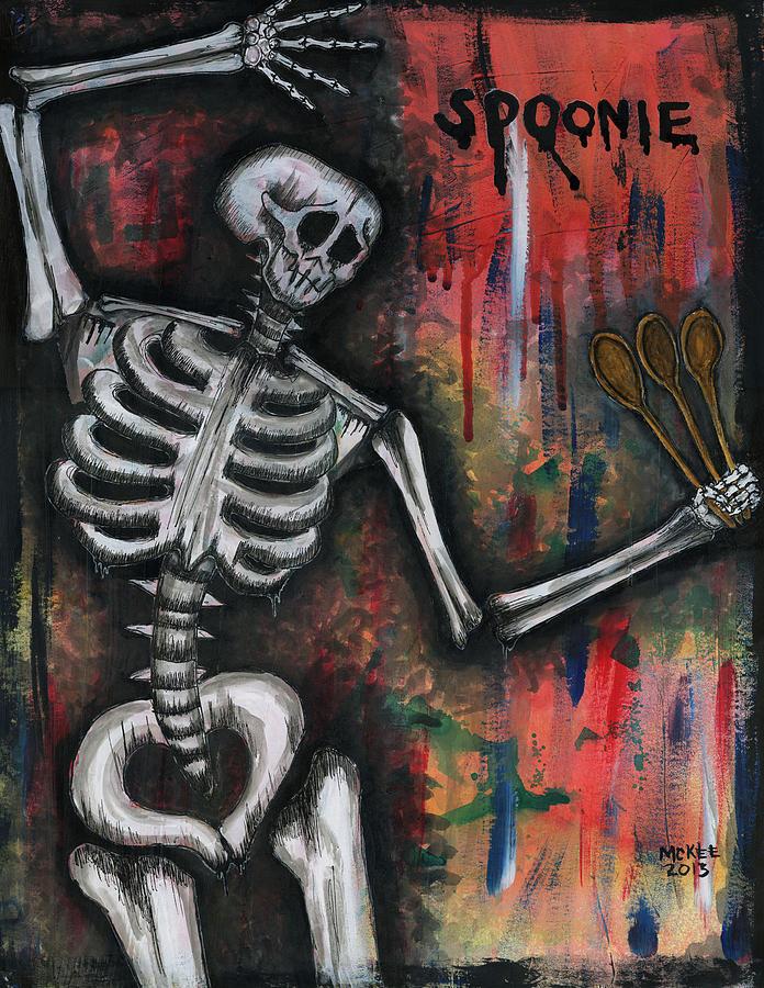 Skeleton Mixed Media - Spoonie by Marisol McKee