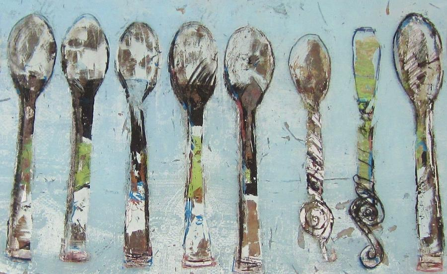 Reverse Glass Painting - Spoons by Debbie Clarke