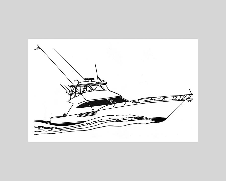 Art Line Yacht Design : Sport fishing yacht drawing by jack pumphrey