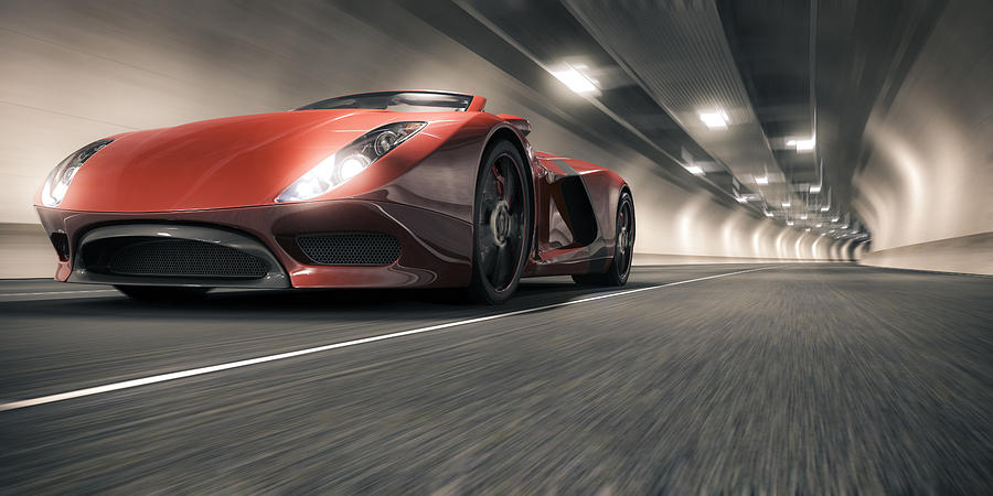 Sports Car in a Tunnel Photograph by Mevans