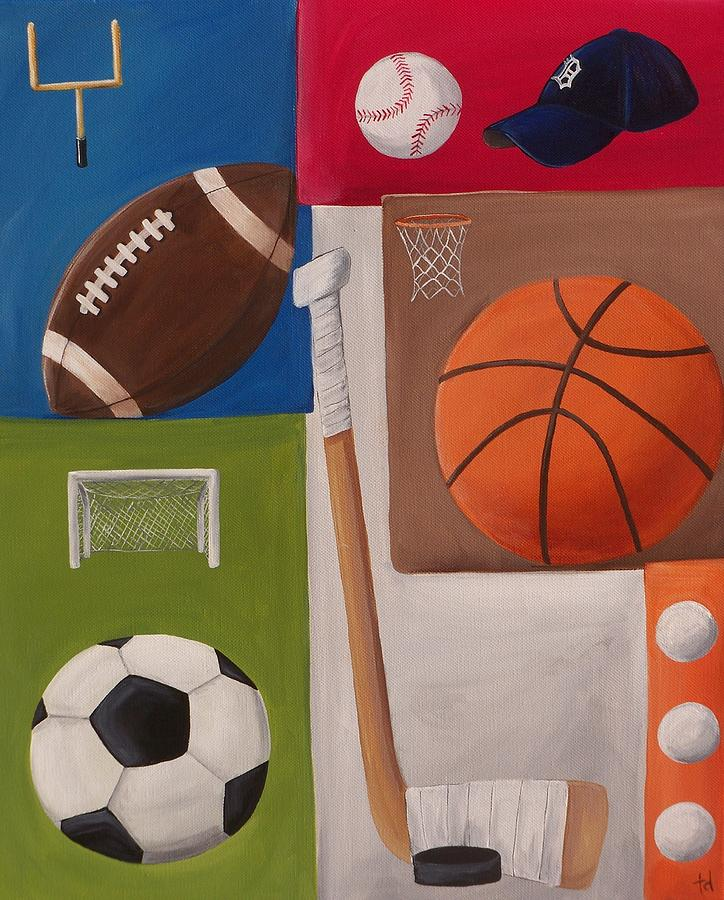 Baseball Painting - Sports Collage by Tracie Davis